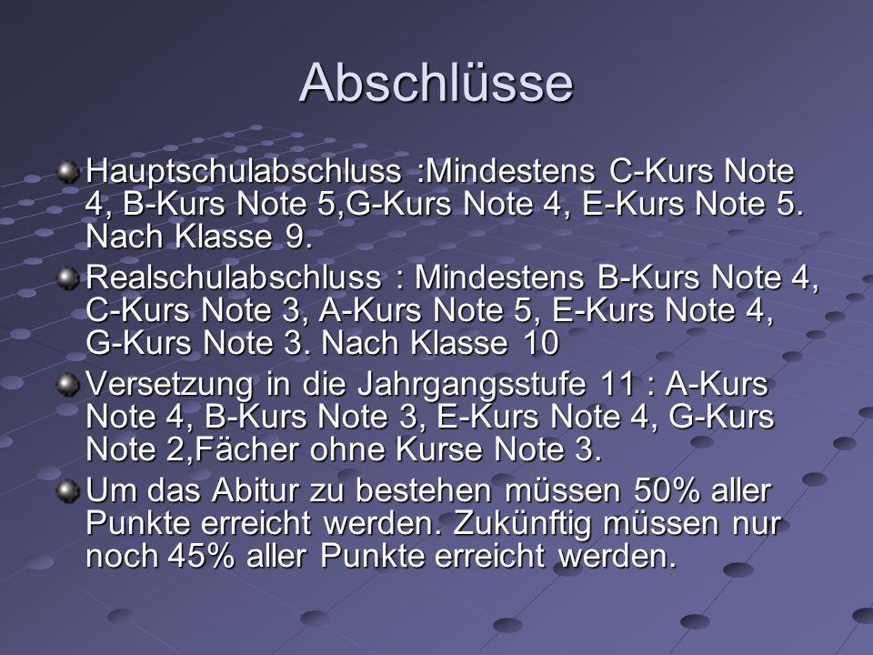 Abschlüsse Hauptschulabschluss :Mindestens C-Kurs Note 4, B-Kurs Note 5,G-Kurs Note 4, E-Kurs Note 5. Nach Klasse 9. Realschulabschluss : Mindestens B