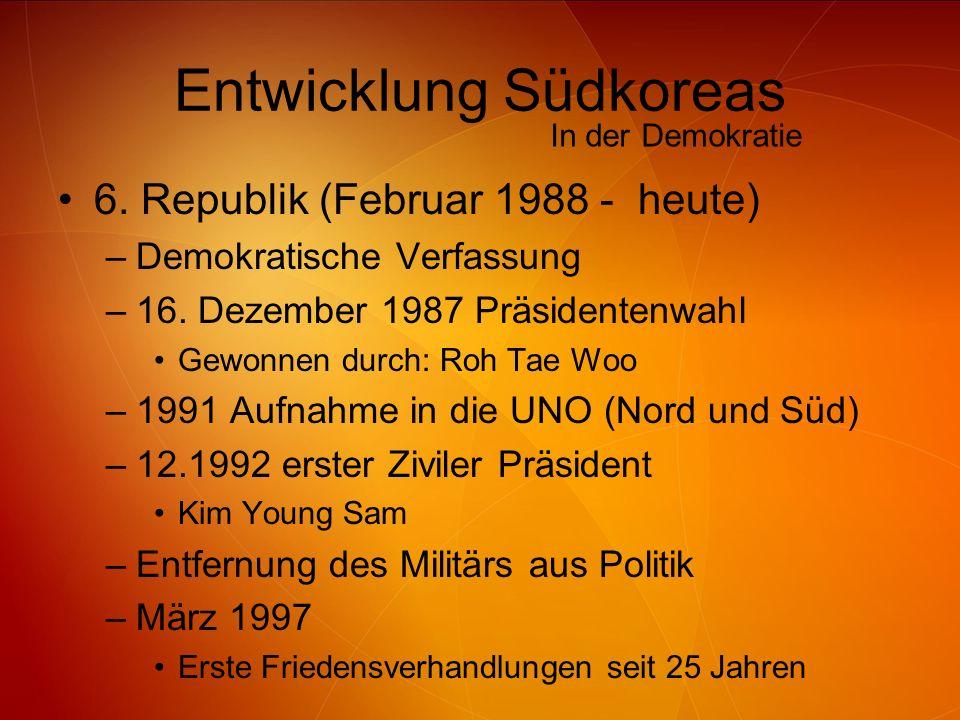 Entwicklung Südkoreas 6. Republik (Februar 1988 - heute) –Demokratische Verfassung –16. Dezember 1987 Präsidentenwahl Gewonnen durch: Roh Tae Woo –199