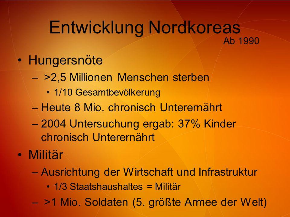 Entwicklung Nordkoreas Hungersnöte – >2,5 Millionen Menschen sterben 1/10 Gesamtbevölkerung –Heute 8 Mio. chronisch Unterernährt –2004 Untersuchung er