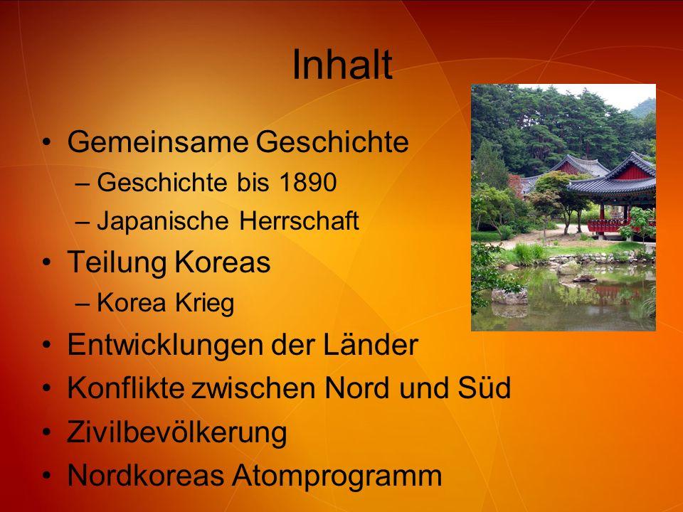 Inhalt Gemeinsame Geschichte –Geschichte bis 1890 –Japanische Herrschaft Teilung Koreas –Korea Krieg Entwicklungen der Länder Konflikte zwischen Nord