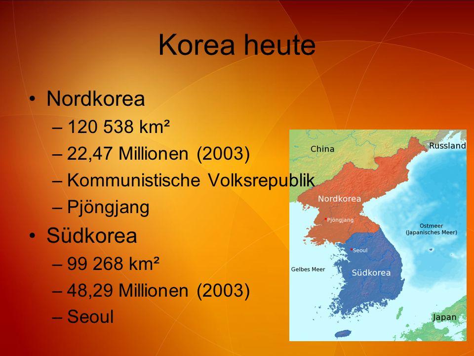 Korea heute Nordkorea –120 538 km² –22,47 Millionen (2003) –Kommunistische Volksrepublik –Pjöngjang Südkorea –99 268 km² –48,29 Millionen (2003) –Seou