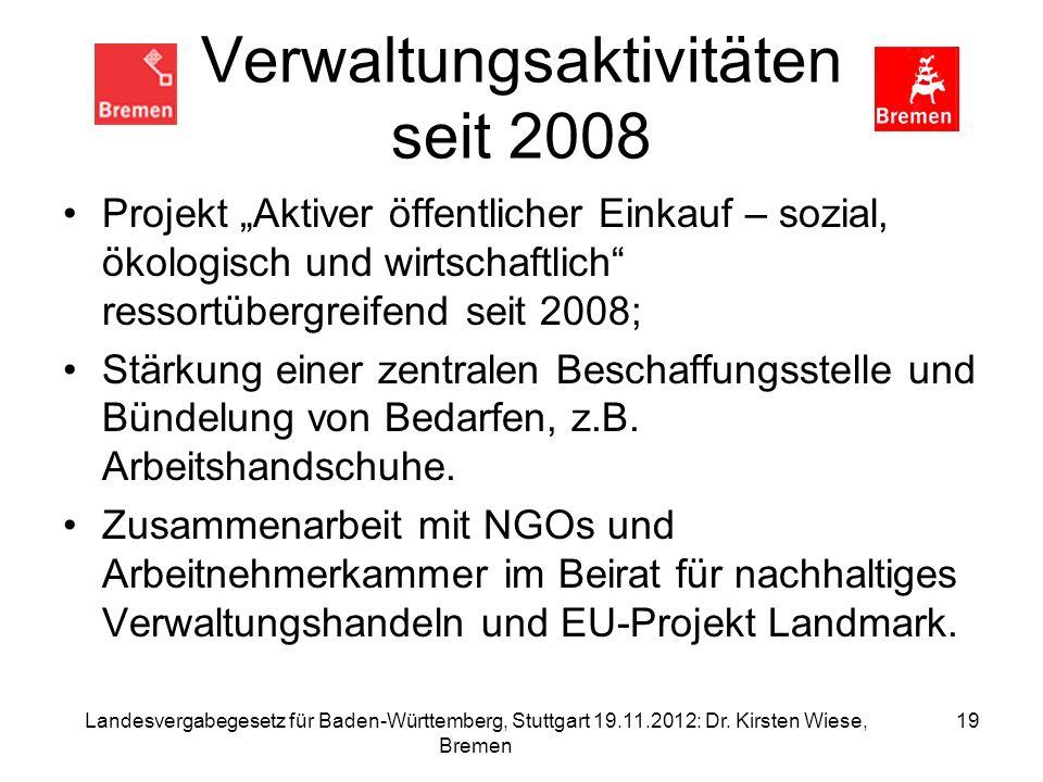 Verwaltungsaktivitäten seit 2008 Projekt Aktiver öffentlicher Einkauf – sozial, ökologisch und wirtschaftlich ressortübergreifend seit 2008; Stärkung