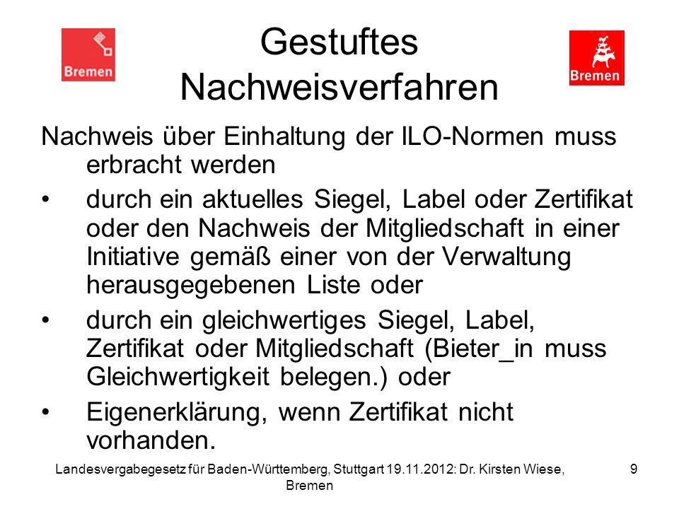 Landesvergabegesetz für Baden-Württemberg, Stuttgart 19.11.2012: Dr. Kirsten Wiese, Bremen 9 Gestuftes Nachweisverfahren Nachweis über Einhaltung der