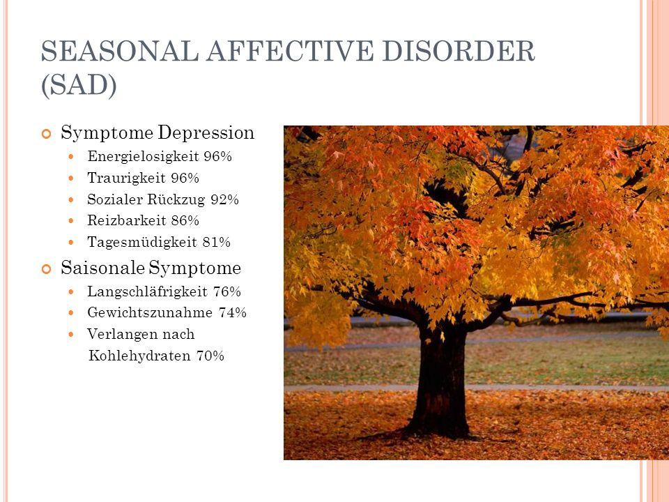 SEASONAL AFFECTIVE DISORDER (SAD) Symptome Depression Energielosigkeit 96% Traurigkeit 96% Sozialer Rückzug 92% Reizbarkeit 86% Tagesmüdigkeit 81% Sai