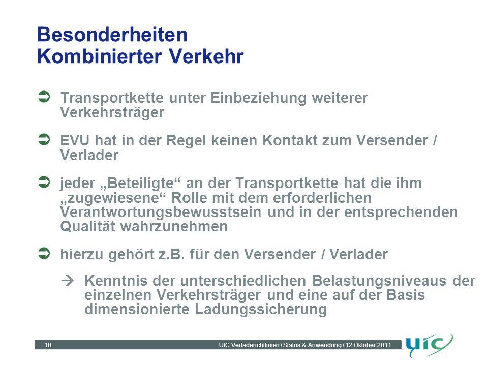 10UIC Verladerichtlinien / Status & Anwendung / 12 Oktober 2011 Besonderheiten Kombinierter Verkehr Transportkette unter Einbeziehung weiterer Verkehr