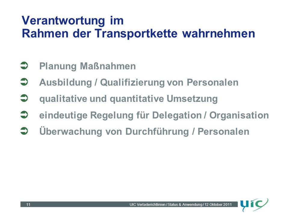 11UIC Verladerichtlinien / Status & Anwendung / 12 Oktober 2011 Verantwortung im Rahmen der Transportkette wahrnehmen Planung Maßnahmen Ausbildung / Q