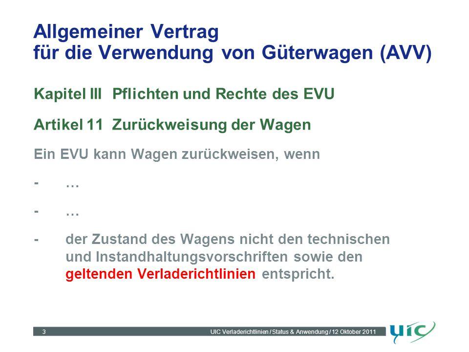 3UIC Verladerichtlinien / Status & Anwendung / 12 Oktober 2011 Allgemeiner Vertrag für die Verwendung von Güterwagen (AVV) Kapitel IIIPflichten und Re
