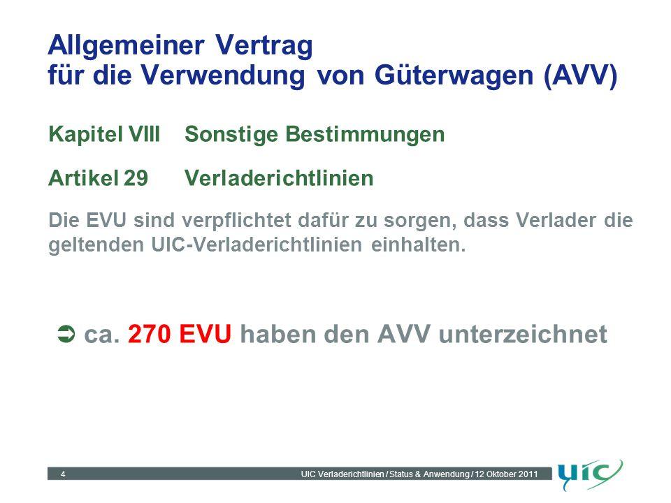 4UIC Verladerichtlinien / Status & Anwendung / 12 Oktober 2011 Allgemeiner Vertrag für die Verwendung von Güterwagen (AVV) Kapitel VIIISonstige Bestim