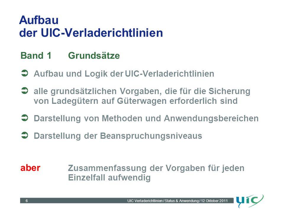 6UIC Verladerichtlinien / Status & Anwendung / 12 Oktober 2011 Aufbau der UIC-Verladerichtlinien Band 1Grundsätze Aufbau und Logik derUIC-Verladericht