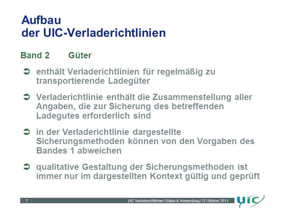 7UIC Verladerichtlinien / Status & Anwendung / 12 Oktober 2011 Aufbau der UIC-Verladerichtlinien Band 2Güter enthält Verladerichtlinien für regelmäßig