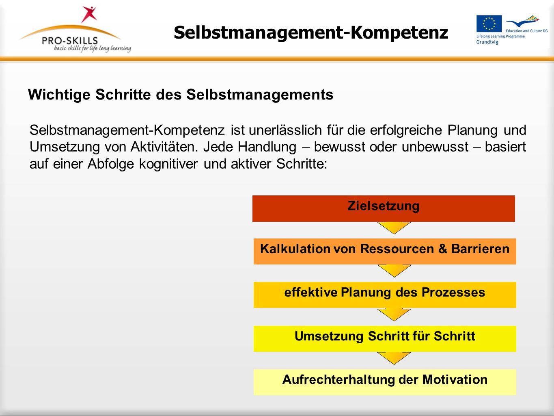 Selbstmanagement-Kompetenz und Lebenslanges Lernen Im speziellen Kontext des Lernens überschneiden sich allgemeine Selbstmanagement-Kompetenzen mit sp