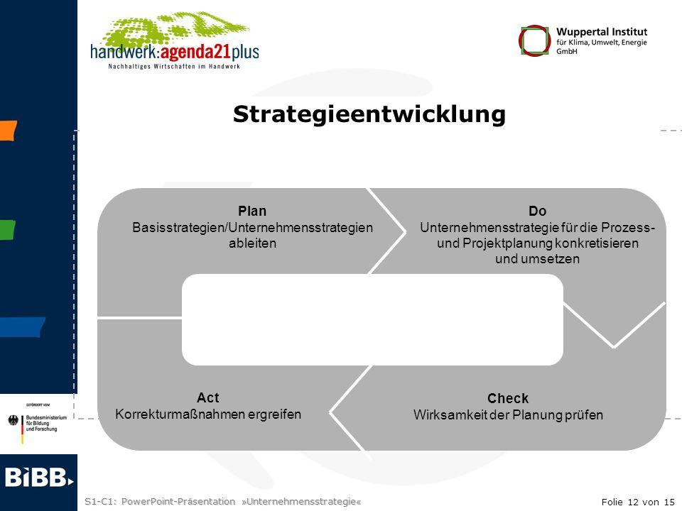 S1-C1: PowerPoint-Pr ä sentation » Unternehmensstrategie « Plan Basisstrategien/Unternehmensstrategien ableiten Do Unternehmensstrategie für die Proze