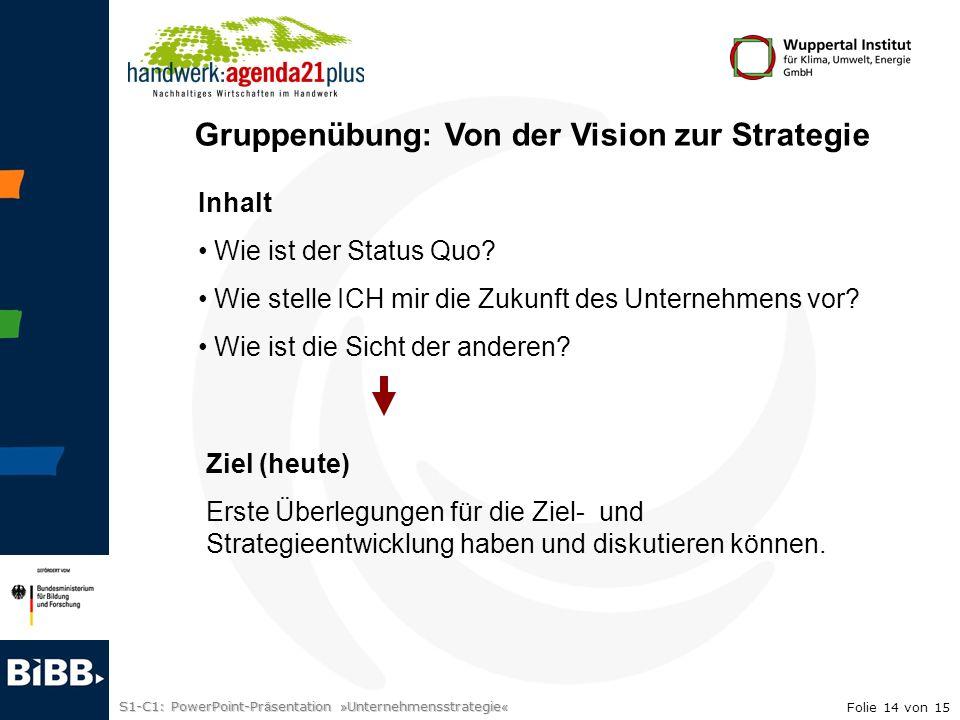 S1-C1: PowerPoint-Pr ä sentation » Unternehmensstrategie « Gruppenübung: Von der Vision zur Strategie Inhalt Wie ist der Status Quo? Wie stelle ICH mi