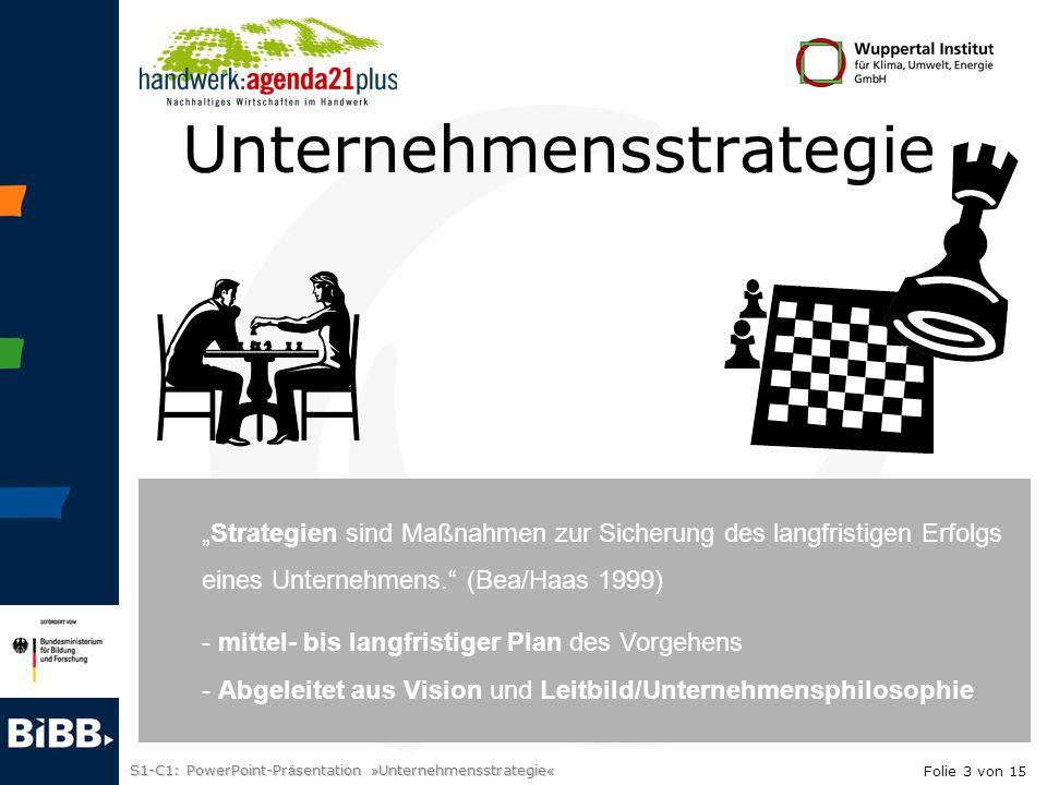S1-C1: PowerPoint-Pr ä sentation » Unternehmensstrategie « Unternehmensstrategie Laufende Kontrolle Ziele Strategien Prozesse + strategische Projekte Wie gehen wir vor.