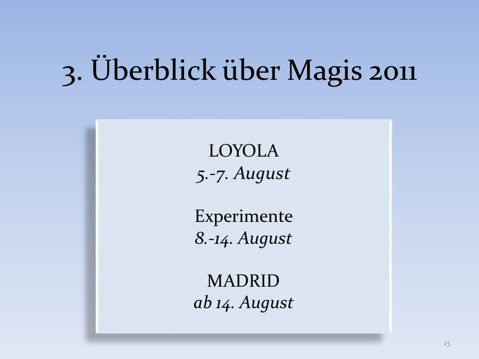 3. Überblick über Magis 2011 LOYOLA 5.-7. August Experimente 8.-14. August MADRID ab 14. August LOYOLA 5.-7. August Experimente 8.-14. August MADRID a