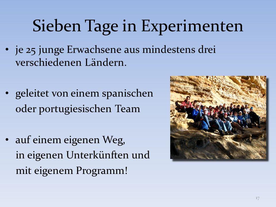 Sieben Tage in Experimenten je 25 junge Erwachsene aus mindestens drei verschiedenen Ländern. geleitet von einem spanischen oder portugiesischen Team