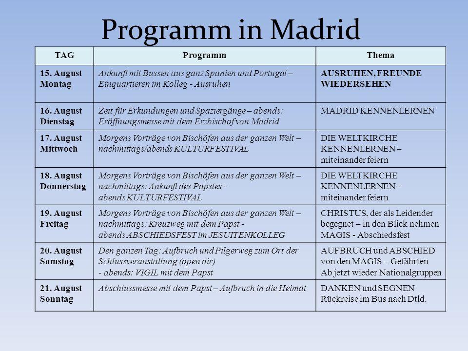 TAGProgrammThema 15. August Montag Ankunft mit Bussen aus ganz Spanien und Portugal – Einquartieren im Kolleg - Ausruhen AUSRUHEN, FREUNDE WIEDERSEHEN