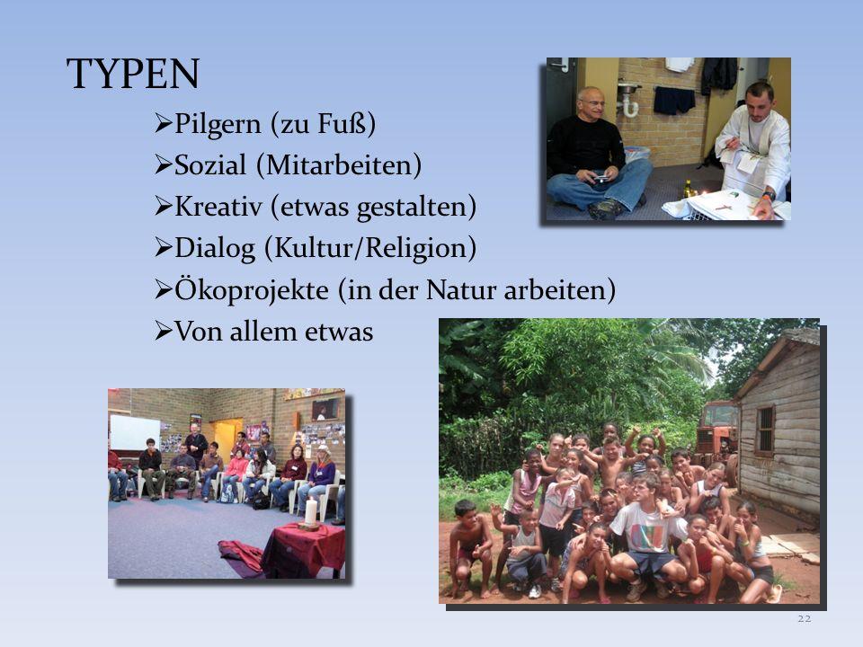 TYPEN Pilgern (zu Fuß) Sozial (Mitarbeiten) Kreativ (etwas gestalten) Dialog (Kultur/Religion) Ökoprojekte (in der Natur arbeiten) Von allem etwas 22