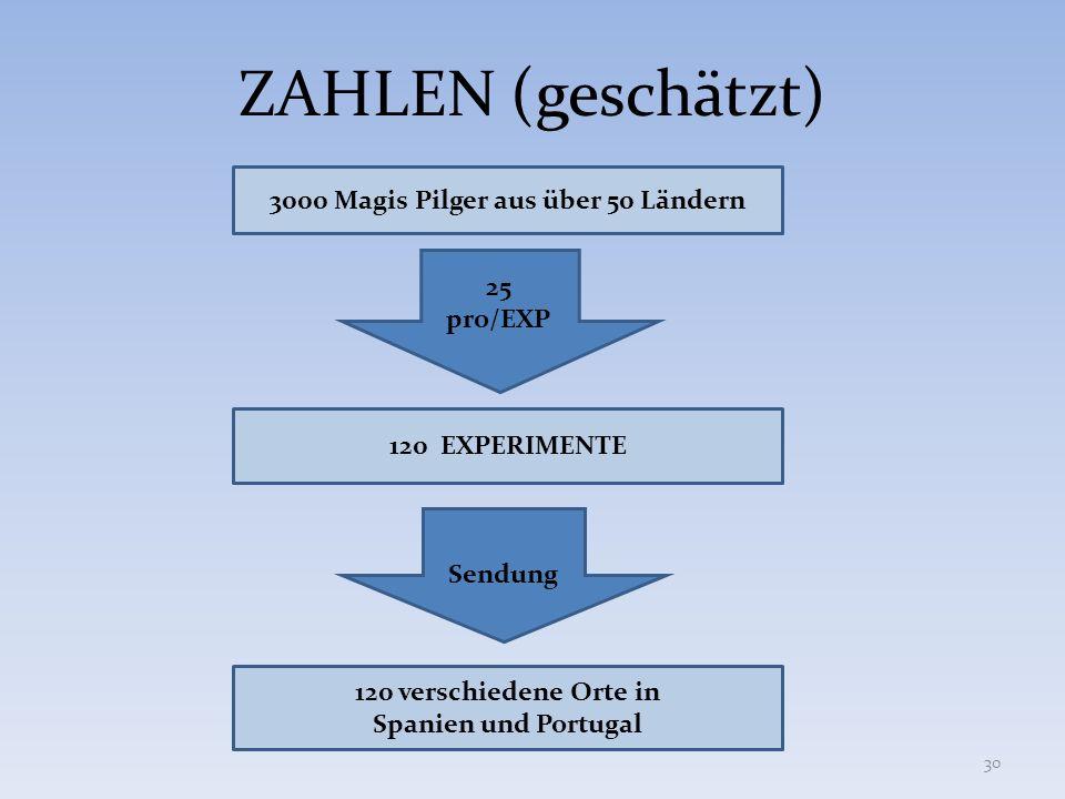 ZAHLEN (geschätzt) 3000 Magis Pilger aus über 50 Ländern 120 EXPERIMENTE 25 pro/EXP Sendung 120 verschiedene Orte in Spanien und Portugal 30