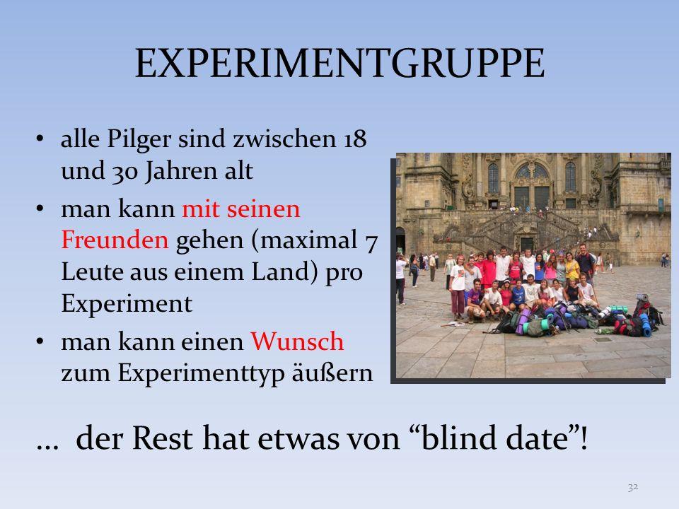 EXPERIMENTGRUPPE alle Pilger sind zwischen 18 und 30 Jahren alt man kann mit seinen Freunden gehen (maximal 7 Leute aus einem Land) pro Experiment man