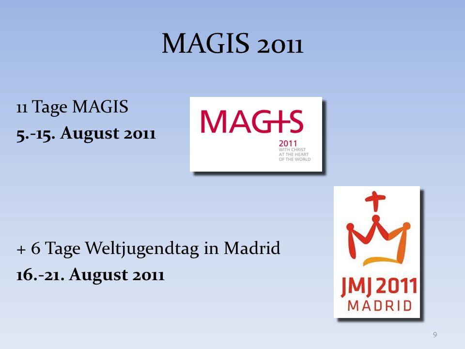 MAGIS 2011 11 Tage MAGIS 5.-15. August 2011 + 6 Tage Weltjugendtag in Madrid 16.-21. August 2011 9