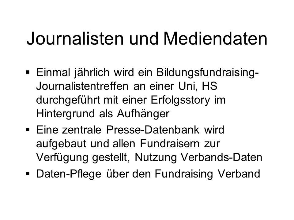 Journalisten und Mediendaten Einmal jährlich wird ein Bildungsfundraising- Journalistentreffen an einer Uni, HS durchgeführt mit einer Erfolgsstory im