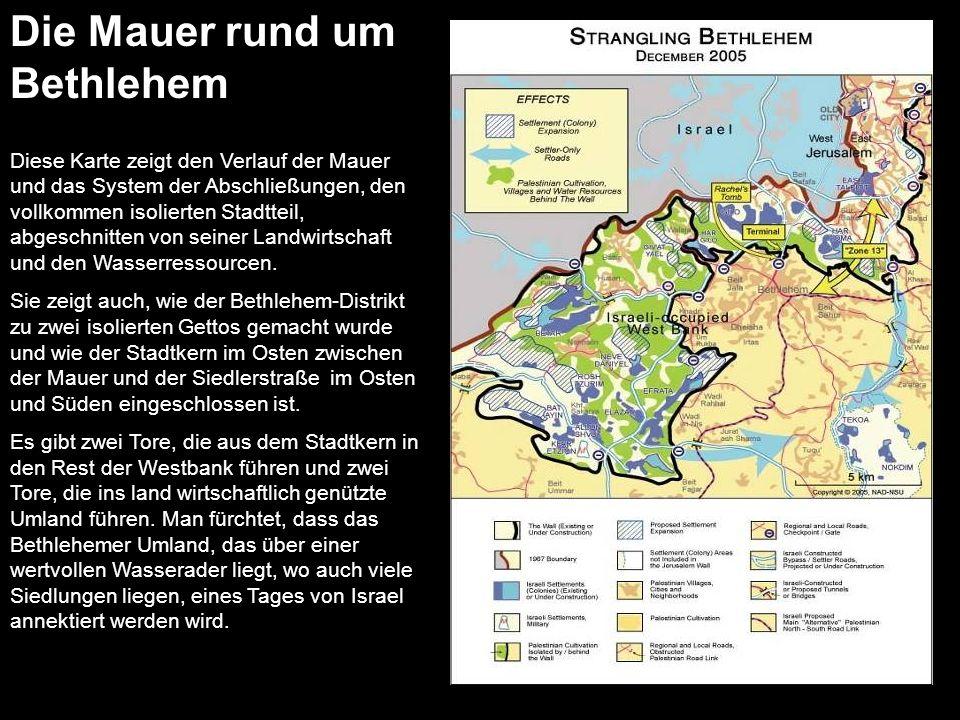 Diese Karte zeigt den Verlauf der Mauer und das System der Abschließungen, den vollkommen isolierten Stadtteil, abgeschnitten von seiner Landwirtschaf