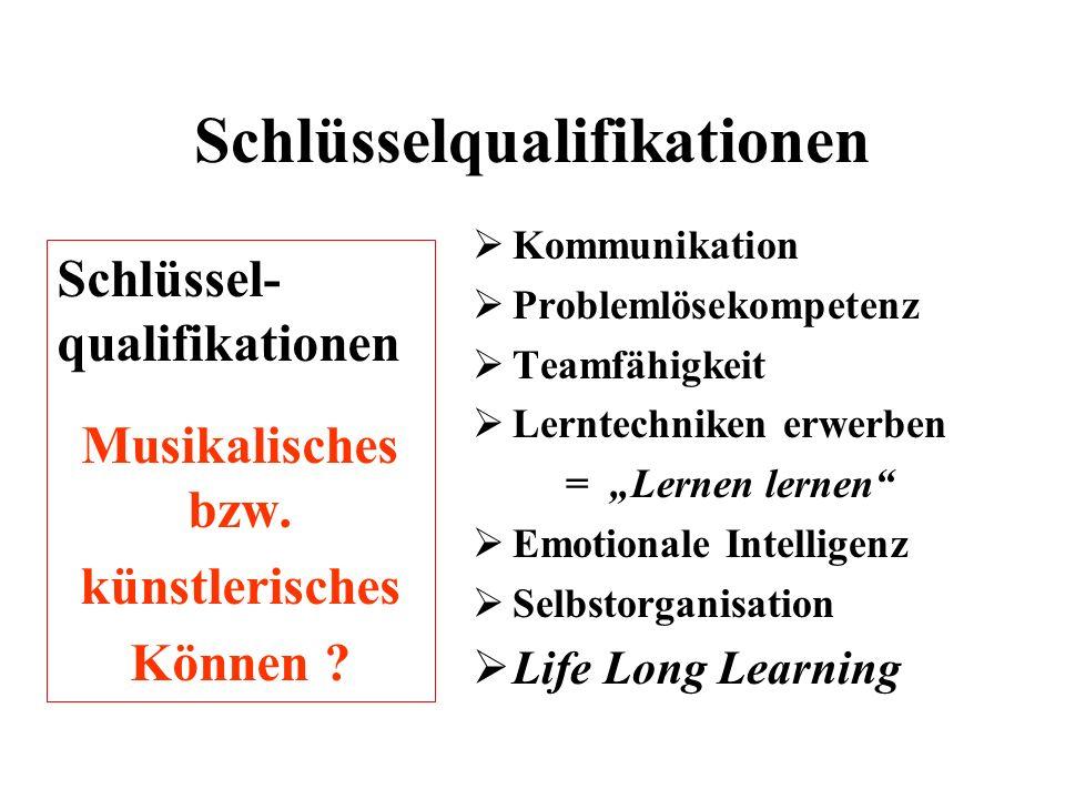 Schlüsselqualifikationen Schlüssel- qualifikationen Musikalisches bzw.