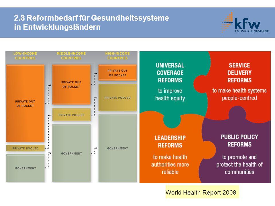 2.8 Reformbedarf für Gesundheitssysteme in Entwicklungsländern World Health Report 2008
