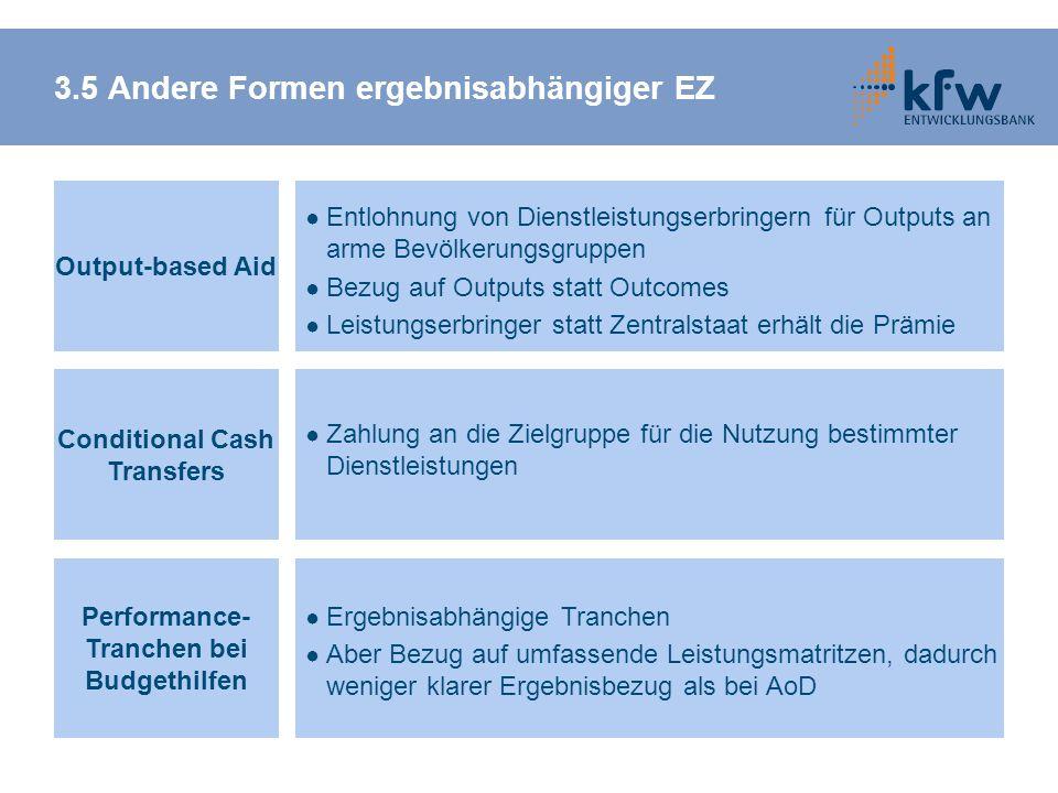 3.5 Andere Formen ergebnisabhängiger EZ Output-based Aid Entlohnung von Dienstleistungserbringern für Outputs an arme Bevölkerungsgruppen Bezug auf Ou