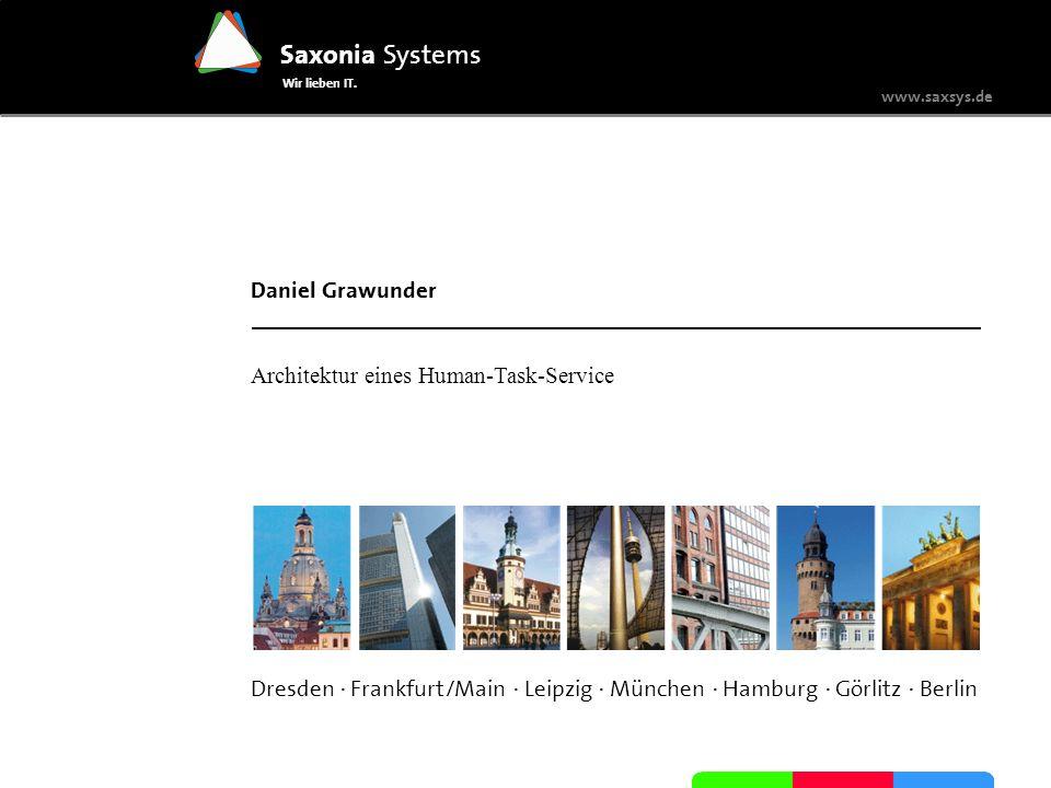 www.saxsys.de Saxonia Systems Wir lieben IT. Dresden · Frankfurt/Main · Leipzig · München · Hamburg · Görlitz · Berlin Daniel Grawunder Architektur ei