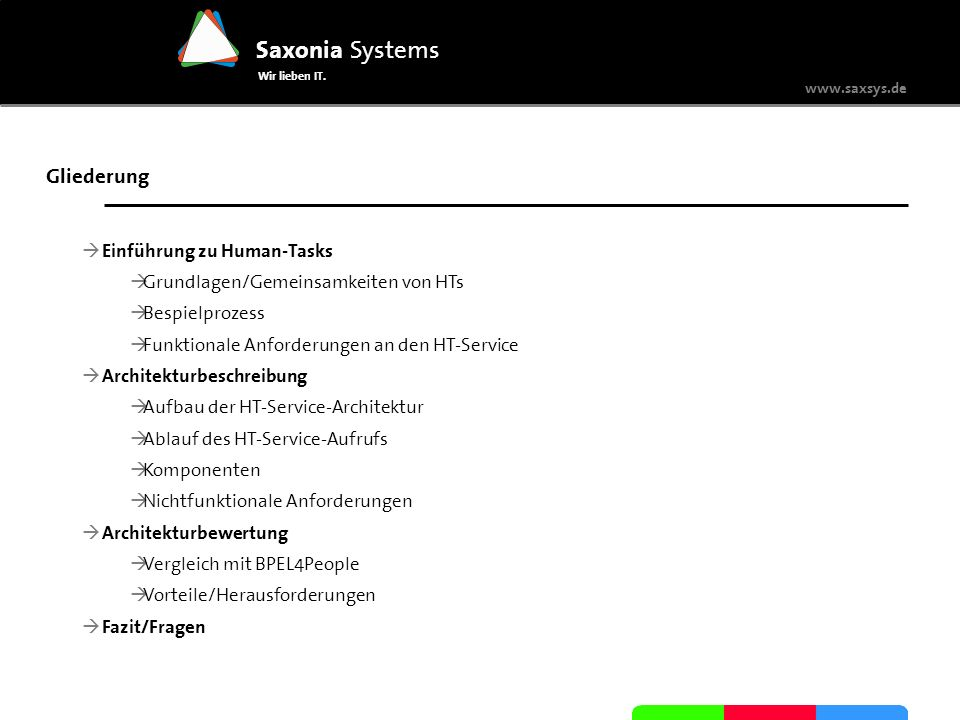 www.saxsys.de Saxonia Systems Wir lieben IT. Gliederung Einführung zu Human-Tasks Grundlagen/Gemeinsamkeiten von HTs Bespielprozess Funktionale Anford