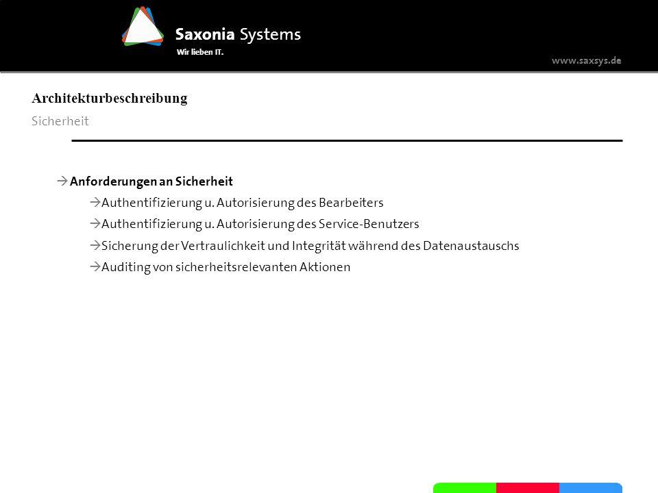 www.saxsys.de Saxonia Systems Wir lieben IT. Architekturbeschreibung Sicherheit Anforderungen an Sicherheit Authentifizierung u. Autorisierung des Bea