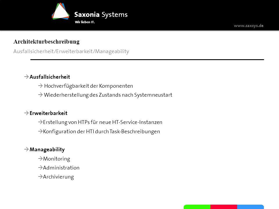 www.saxsys.de Saxonia Systems Wir lieben IT. Architekturbeschreibung Ausfallsicherheit/Erweiterbarkeit/Manageability Ausfallsicherheit Hochverfügbarke