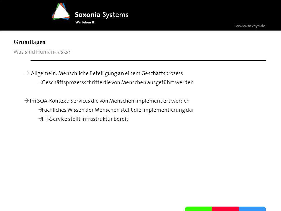 www.saxsys.de Saxonia Systems Wir lieben IT. Grundlagen Was sind Human-Tasks? Allgemein: Menschliche Beteiligung an einem Geschäftsprozess Geschäftspr