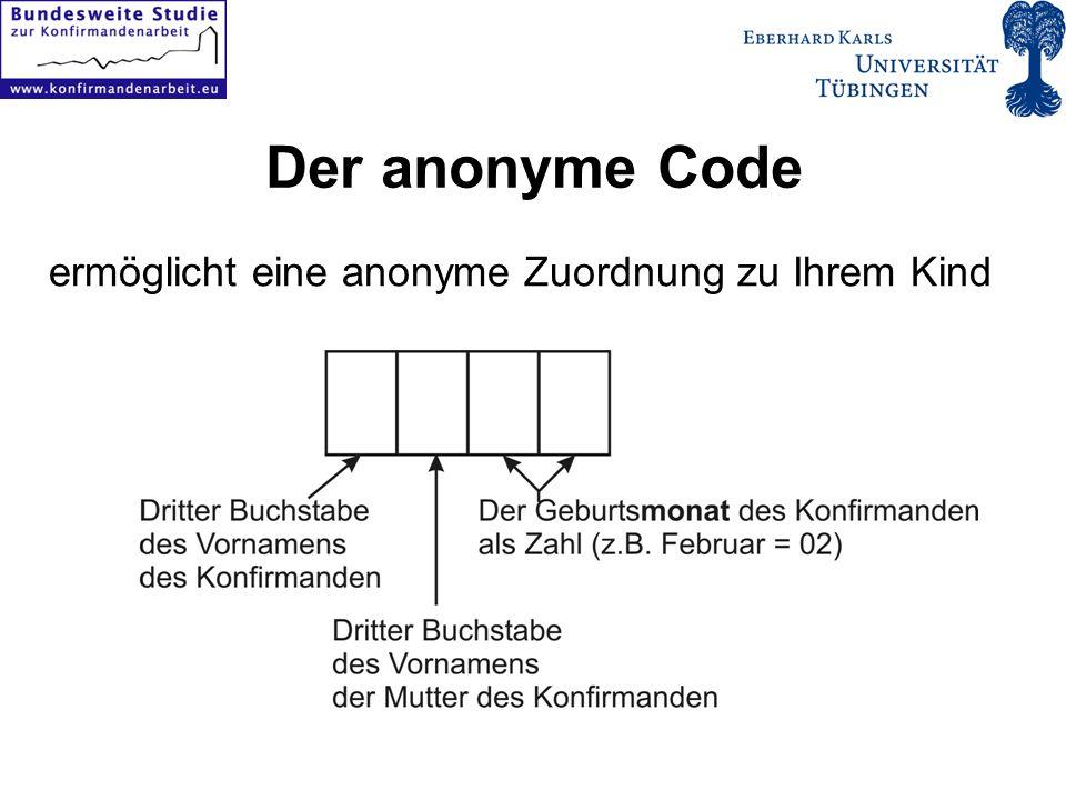 ermöglicht eine anonyme Zuordnung zu Ihrem Kind Der anonyme Code