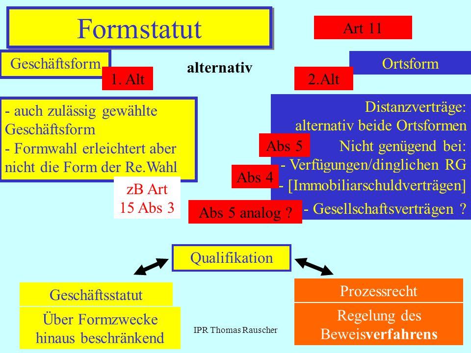 IPR Thomas Rauscher Formstatut Art 11 Geschäftsform alternativ Ortsform 1. Alt2.Alt - auch zulässig gewählte Geschäftsform - Formwahl erleichtert aber