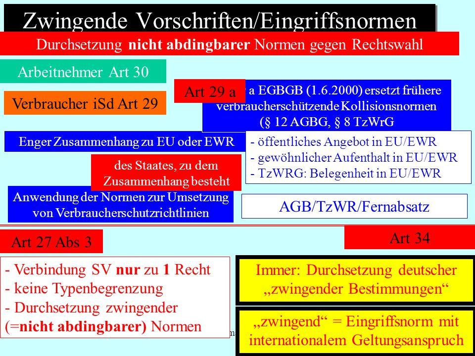 IPR Thomas Rauscher Zwingende Vorschriften/Eingriffsnormen Arbeitnehmer Art 30 Durchsetzung nicht abdingbarer Normen gegen Rechtswahl Enger Zusammenha