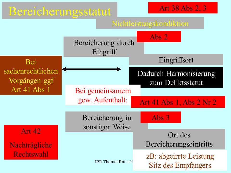 IPR Thomas Rauscher Bereicherungsstatut Nichtleistungskondiktion Art 38 Abs 2, 3 Bereicherung durch Eingriff Abs 2 Eingriffsort Dadurch Harmonisierung