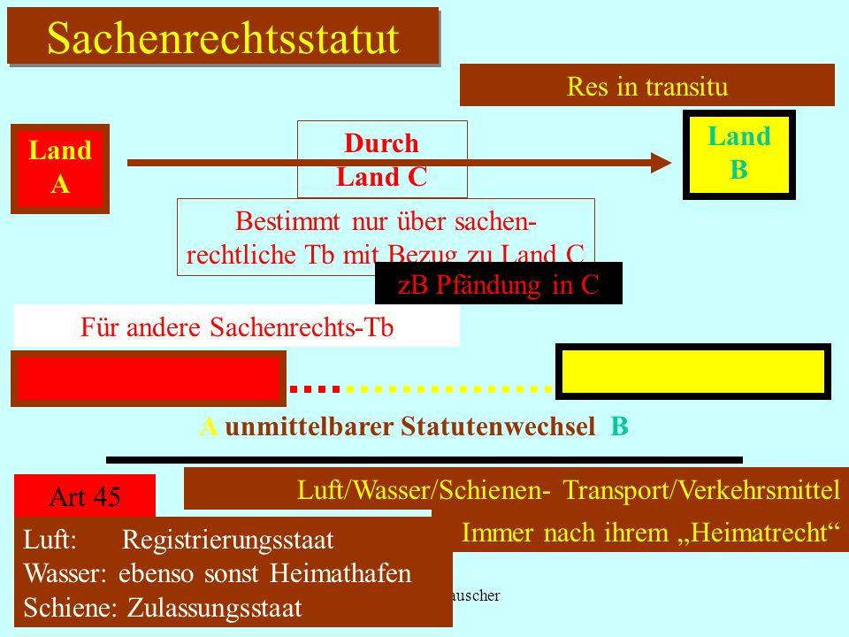 IPR Thomas Rauscher Sachenrechtsstatut Res in transitu Land A Land B Durch Land C Bestimmt nur über sachen- rechtliche Tb mit Bezug zu Land C zB Pfänd
