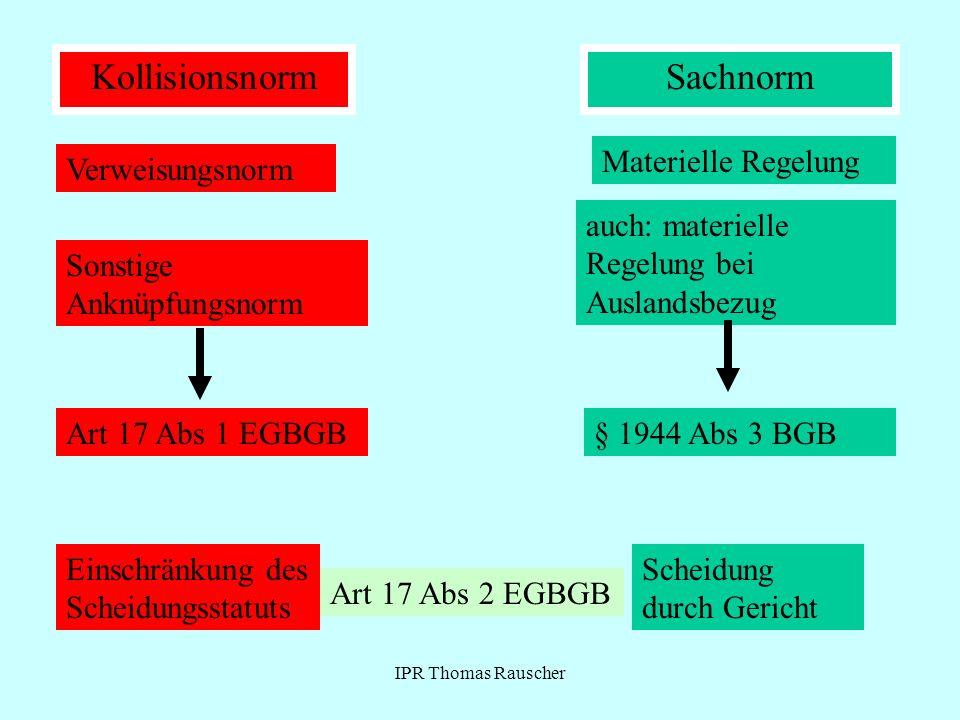 IPR Thomas Rauscher KollisionsnormSachnorm Verweisungsnorm Sonstige Anknüpfungsnorm Materielle Regelung auch: materielle Regelung bei Auslandsbezug §
