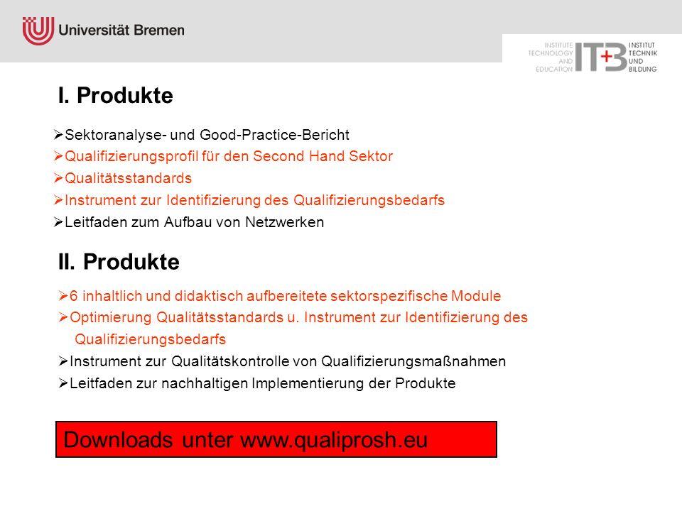 I. Produkte Sektoranalyse- und Good-Practice-Bericht Qualifizierungsprofil für den Second Hand Sektor Qualitätsstandards Instrument zur Identifizierun