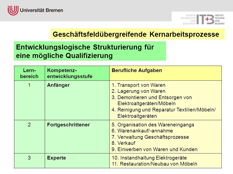 Lern- bereich Kompetenz- entwicklungsstufe Berufliche Aufgaben 1Anfänger1. Transport von Waren 2. Lagerung von Waren 3. Demontieren und Entsorgen von