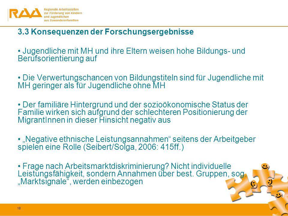 18 3.3 Konsequenzen der Forschungsergebnisse Jugendliche mit MH und ihre Eltern weisen hohe Bildungs- und Berufsorientierung auf Die Verwertungschance