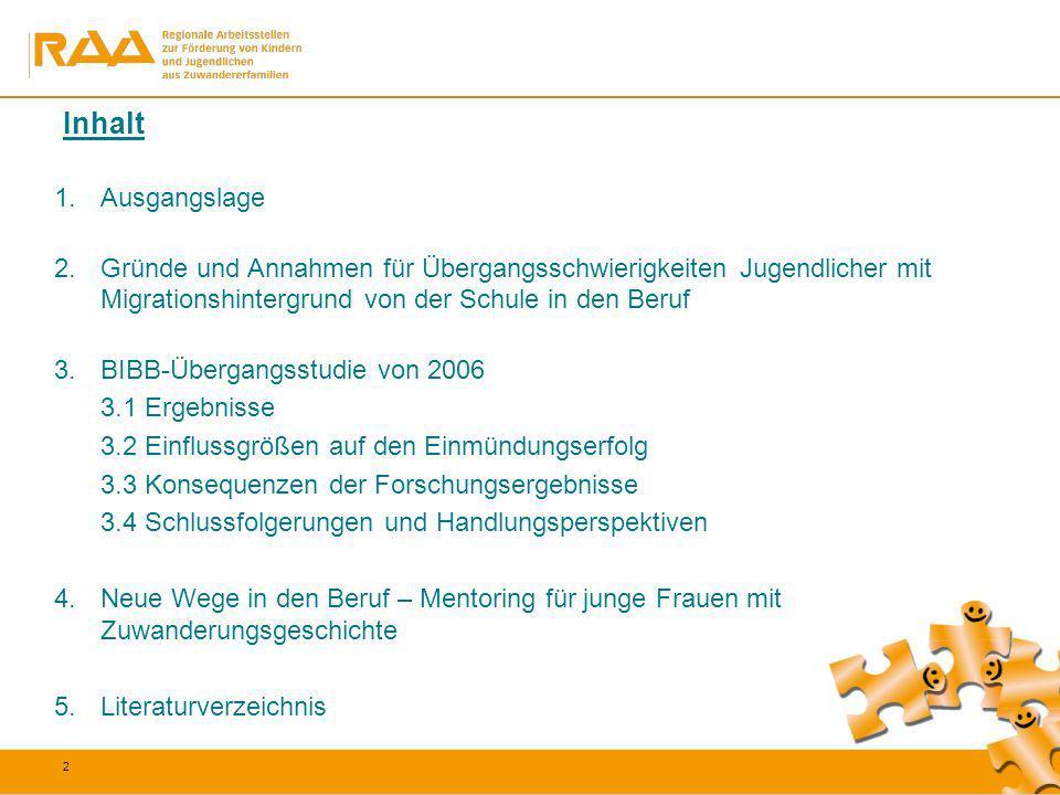 2 1.Ausgangslage 2.Gründe und Annahmen für Übergangsschwierigkeiten Jugendlicher mit Migrationshintergrund von der Schule in den Beruf 3.BIBB-Übergang