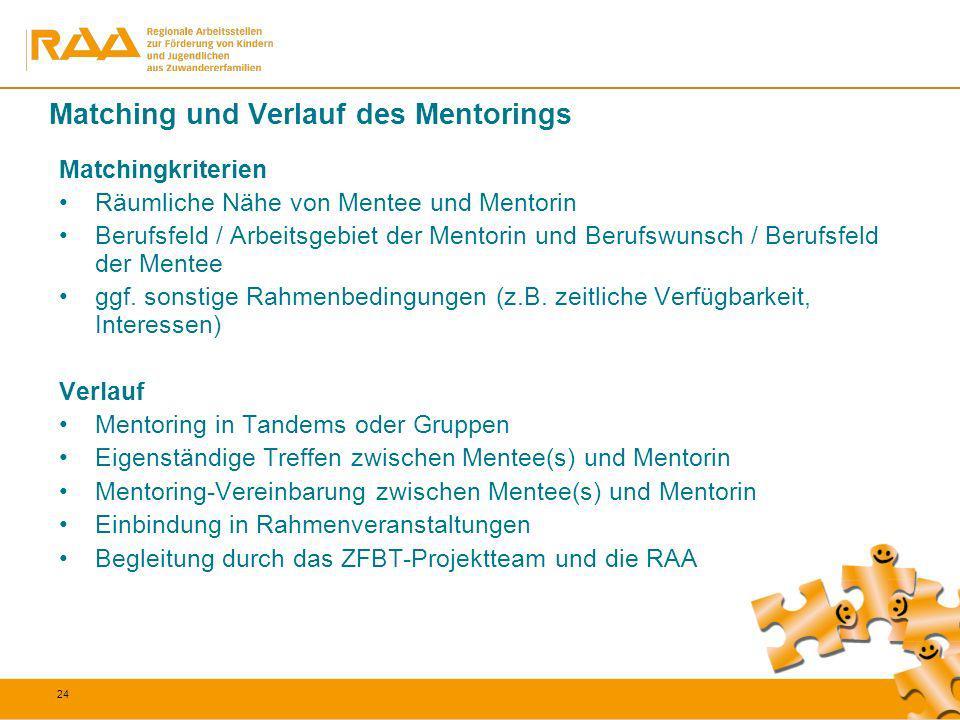 24 Matching und Verlauf des Mentorings Matchingkriterien Räumliche Nähe von Mentee und Mentorin Berufsfeld / Arbeitsgebiet der Mentorin und Berufswuns