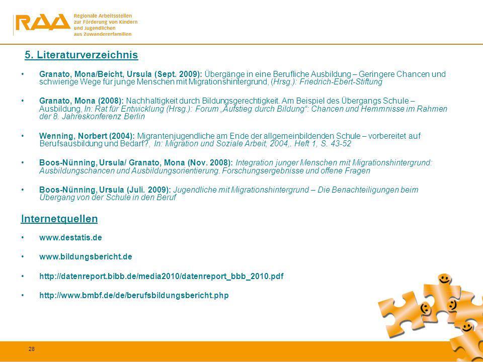 28 5. Literaturverzeichnis Granato, Mona/Beicht, Ursula (Sept. 2009): Übergänge in eine Berufliche Ausbildung – Geringere Chancen und schwierige Wege