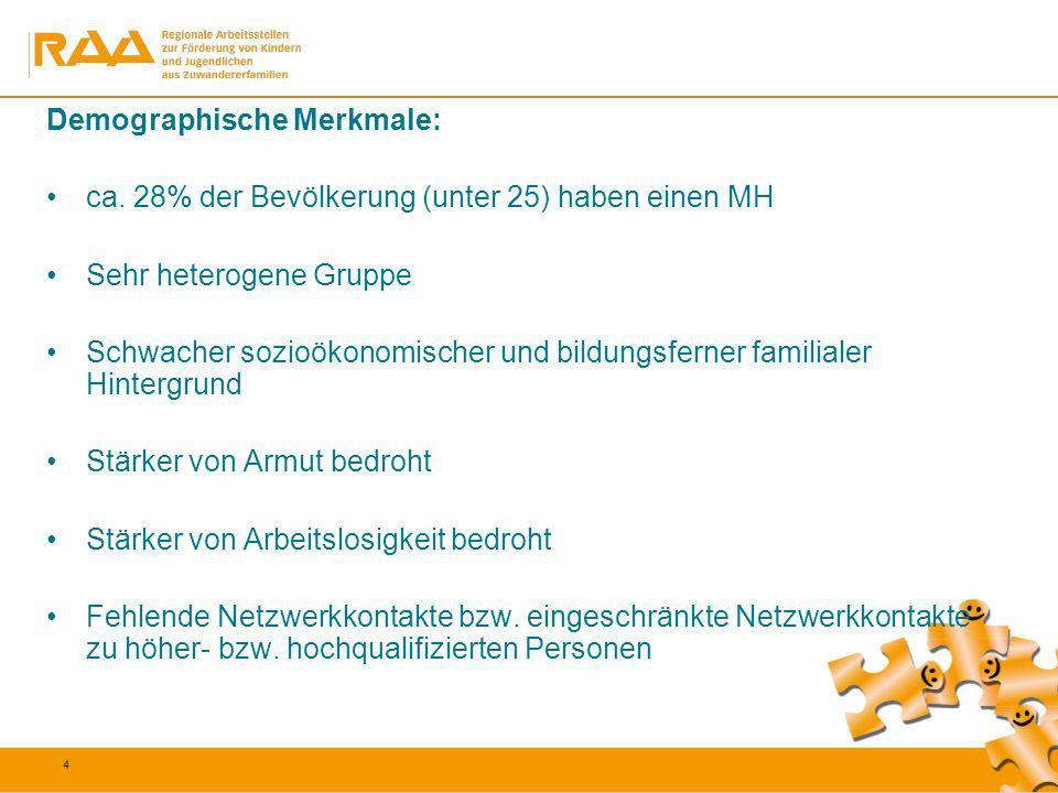 15 Fazit: Auch bei gleichen schulischen Voraussetzungen sind die Einmündungschancen von Jugendlichen mit MH schlechter als bei der Vergleichsgruppe der autochthonen Deutschen