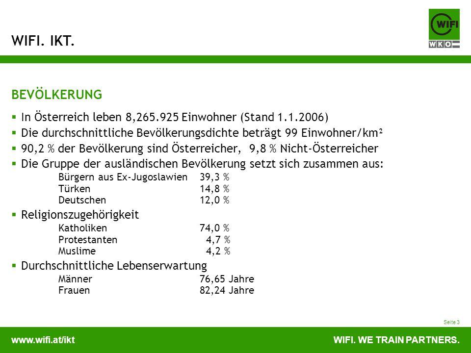 www.wifi.at/iktWIFI. WE TRAIN PARTNERS. WIFI. IKT. Seite 3 BEVÖLKERUNG In Österreich leben 8,265.925 Einwohner (Stand 1.1.2006) Die durchschnittliche