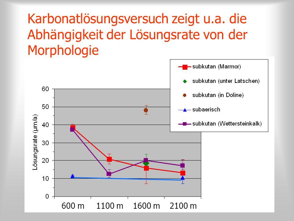 600 m1100 m1600 m2100 m Karbonatlösungsversuch zeigt u.a. die Abhängigkeit der Lösungsrate von der Morphologie